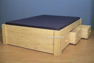 2 persoonsbed jeannet met 3 laden div. maten houtenbed