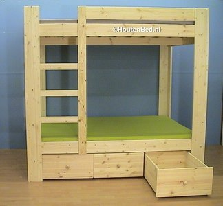 3 Pers Stapelbed.4 Persoons Stapelbed 3 Laden Houtknop Houtenbed